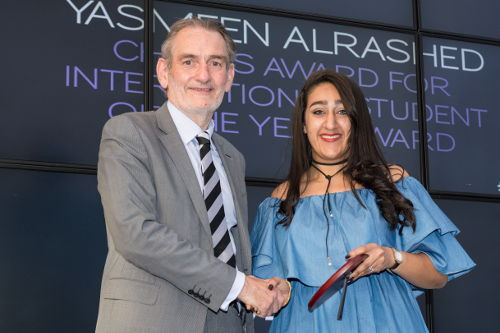 Edinburgh College chair, Professor Sir Ian Diamond and Yasmeen Alrashed, International Student of the Year