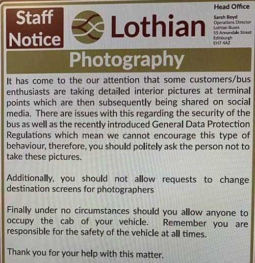 Lothian Buses GDPR notice