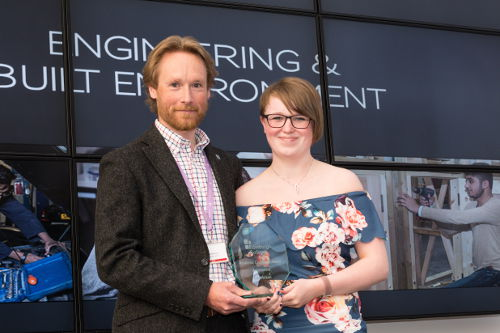 Sandy Bruce, curriclum leader for automotive engineering with Erin Mclean, Academic Excellence Award Automotive Engineering
