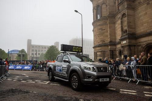 The Nissan Navara lead clock car at the start line of the Edinburgh Marathon.